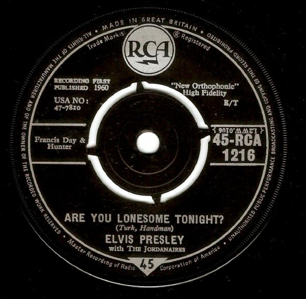 ELVIS PRESLEY Are You Lonesome Tonight Vinyl Record 7 Inch RCA 1960